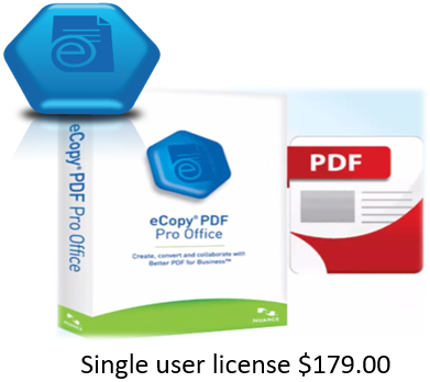 (1) eCopy PDF Pro Office version 6.3 1 license with 18 months support