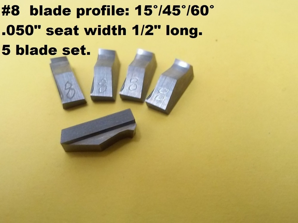 """3 angle valve seat cutter blades #8 NEW profile:15°/45°60° X.050"""" seat 5 pack,"""