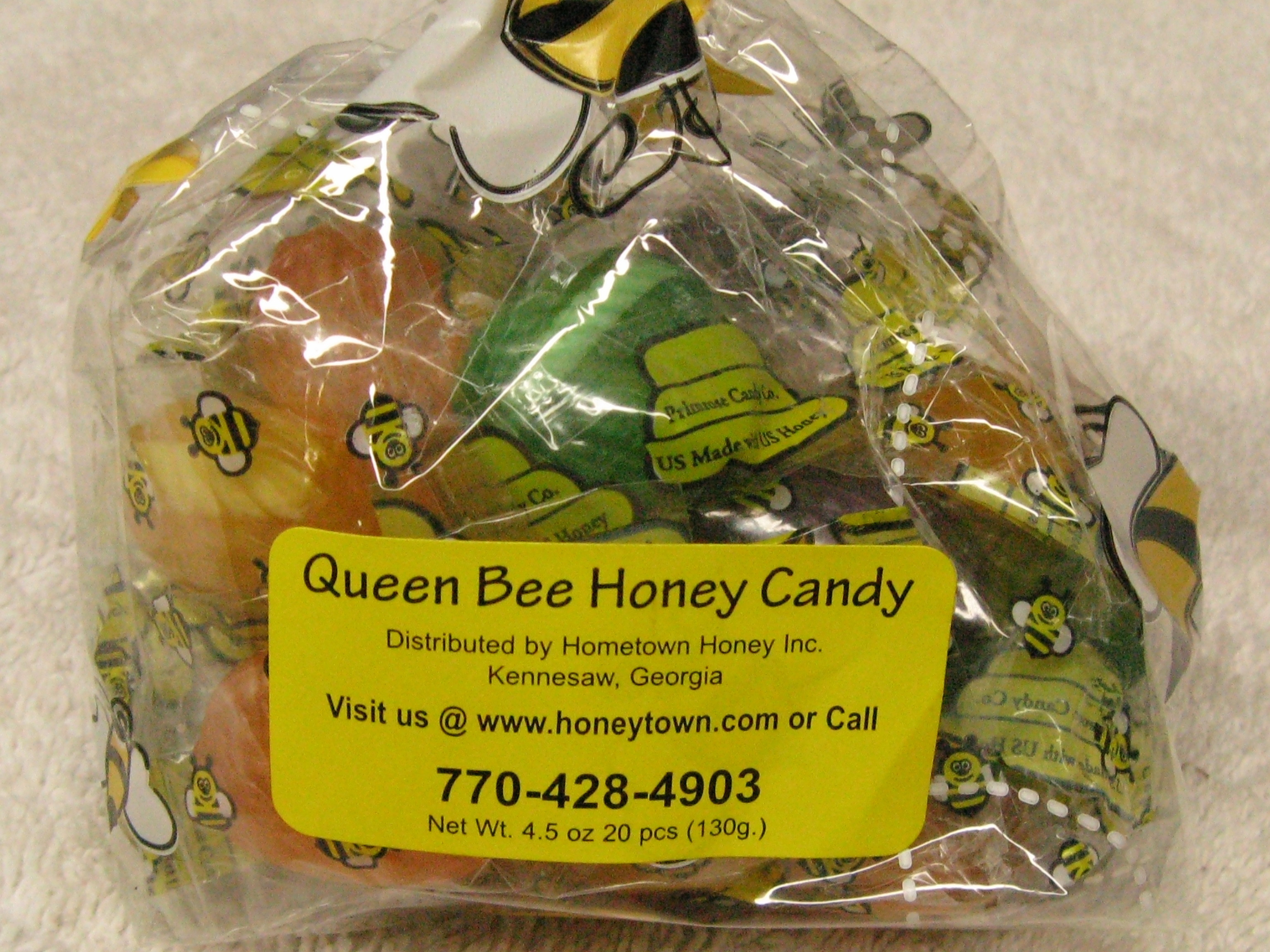 Queen Bee Honey Candy- 20pc per bag 4.5oz. hth012