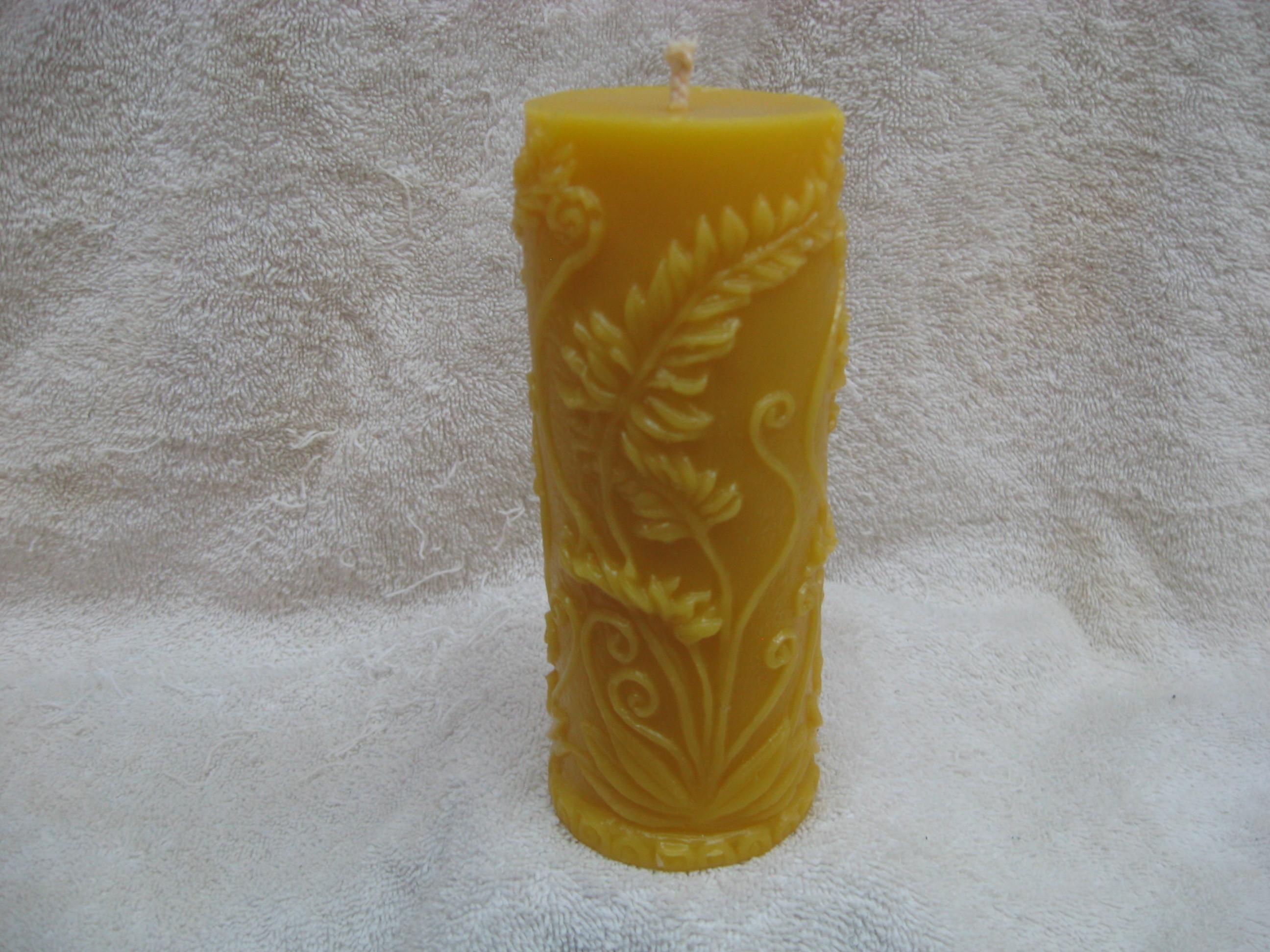 Rustic Fern Pillar Candle 00121414