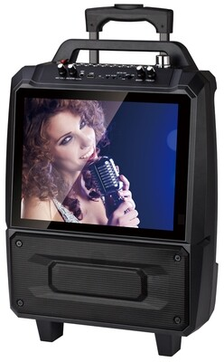 "QFX 2x5"" PORTABLE KARAOKE SPEAKER SYSTEM WITH 14"" SCREEN KAR-812"