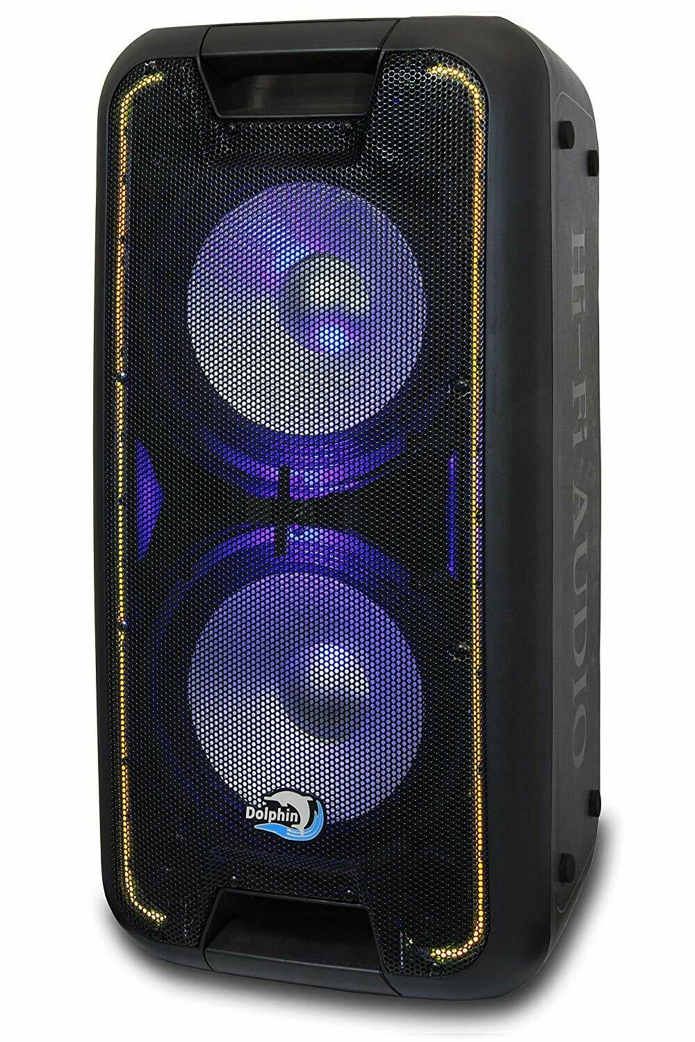 "Dolphin SP-210RBT Rechargeable Dual 10"" Party Speaker with Lights"