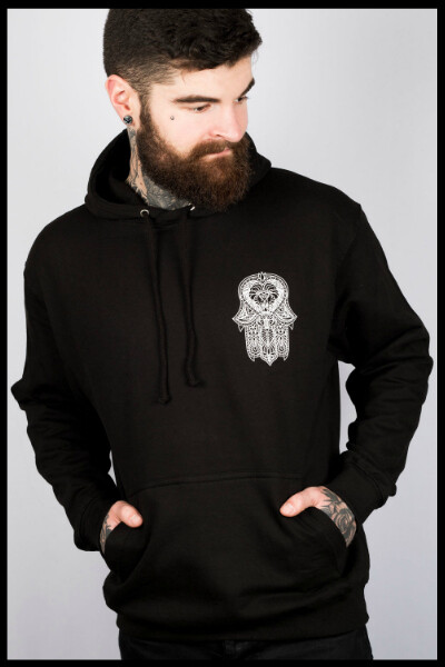 Hamsa Lion Pullover Hoodie - Black