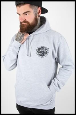 Rose Mandala Pullover Hoodie - Grey