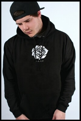 Rose Embroidered Pullover Hoodie - Black