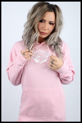Rose Embroidered Pullover Hoodie - Baby Pink
