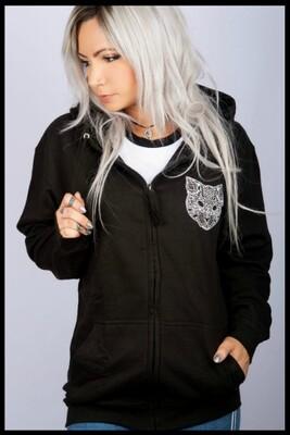 Cat Mandala Zip Hoodie - Black