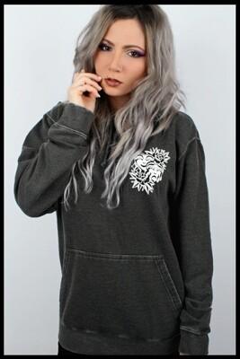 Love & Hate Pullover Hoodie - Acid Wash Dark Grey