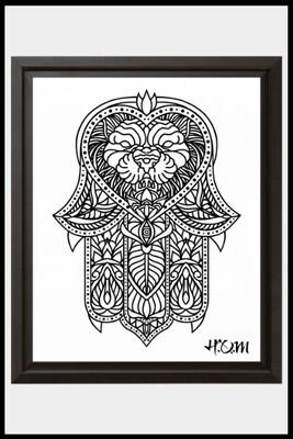 Hamsa Lion Print