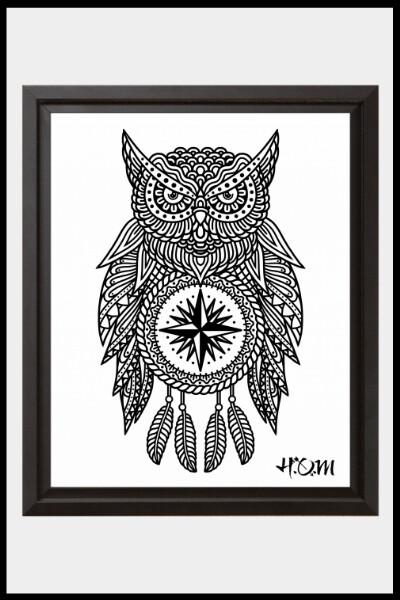 Owl Mandala Print