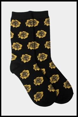 Golden Rose Pattern Socks - Black