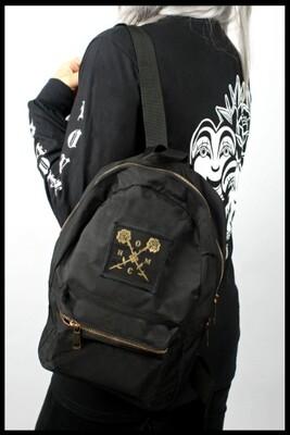 Golden Roses Small Backpack - Black