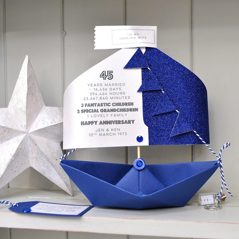 45th Sapphire Wedding Anniversary Paper Boat Card