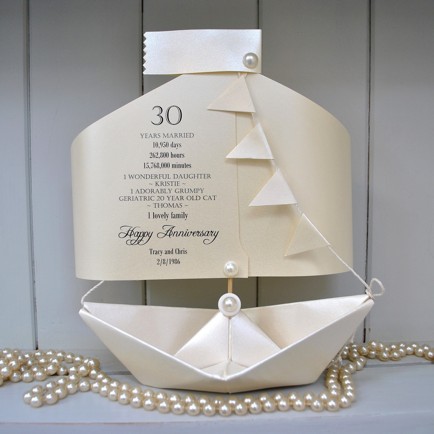 30th Pearl Wedding Anniversary Paper Boat Card