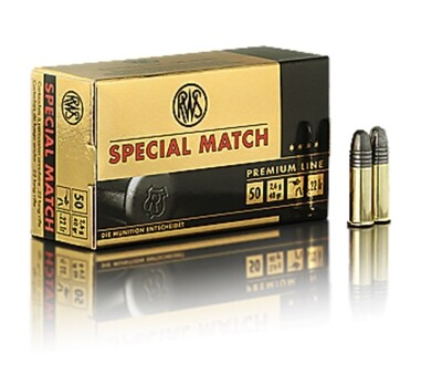RWS Special Match Ammunition 22 Long Rifle 40 Grain Lead Round Nose Box of 50