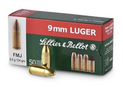 Sellier & Bellot Pistol Ammo in 9mm Luger (124 grain / 8 gram) FMJ Box of 50