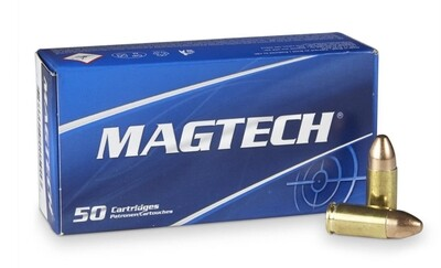 Magtech, 9mm, Pistol Ammo in  FMJ, 124 Grain, Box of  50 Rounds