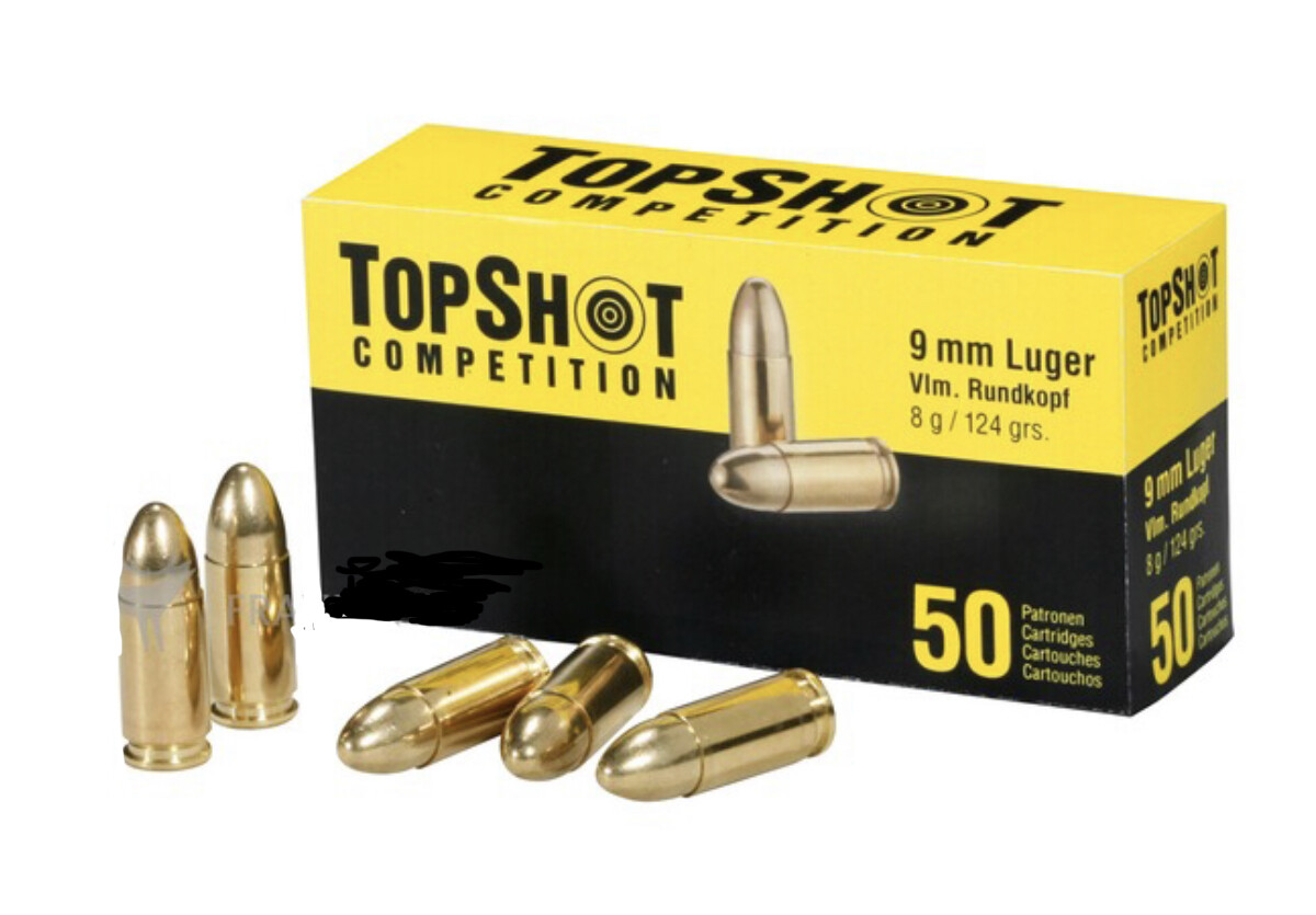 Top Shot Competition 9mm 124 grain FMJ  Box of 50 Rounds