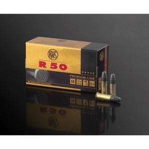 RWS R-50 Ammunition 22 Long Rifle 40 Grain Lead Round Nose.  Box of 50