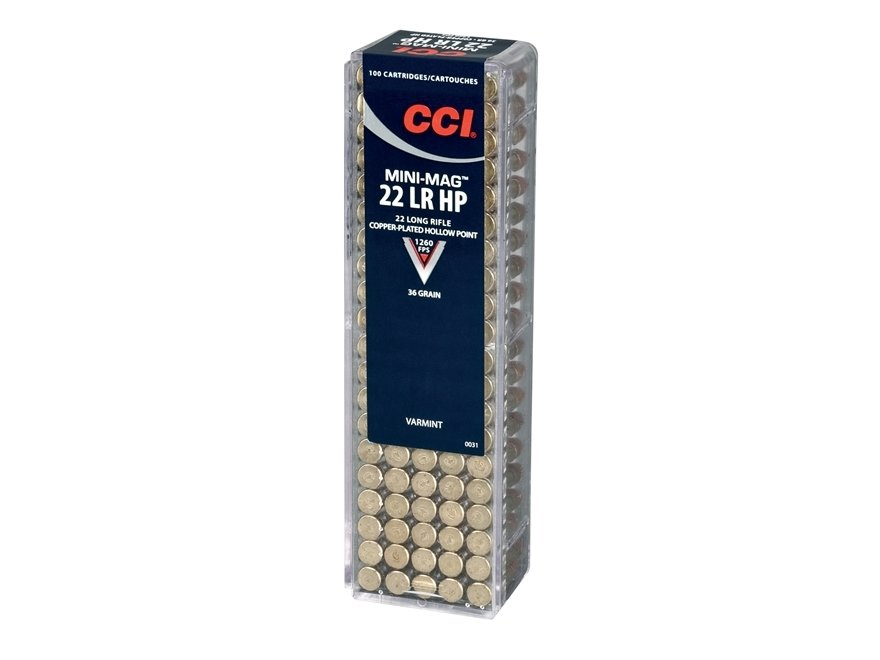 CCI Mini-Mag High Velocity Ammunition 22 Long Rifle 40 Grain Plated Lead Round Nose Box of 100