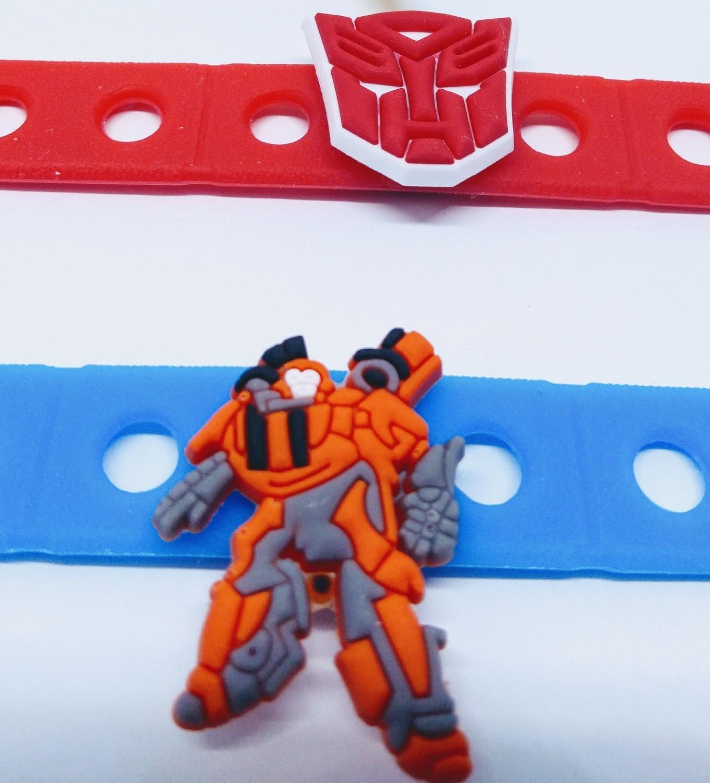 10 Braccialetti personalizzati Robot Transformers in 3D gomma silicone pvc morbido gadgets fine festa a tema compleanno bambini