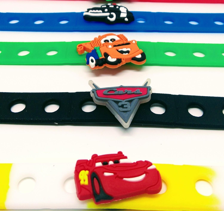 10 Braccialetti personalizzati Cars Saetta McQueen in 3D gomma silicone pvc morbido gadgets fine festa a tema compleanno bambini