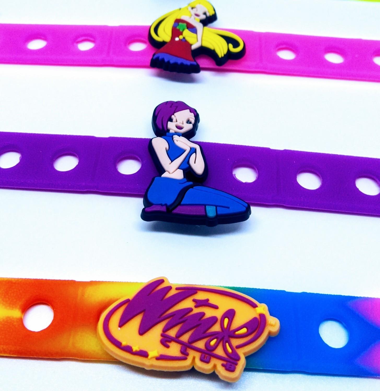 10 Braccialetti personalizzati Winx Club in 3D gomma silicone pvc morbido gadgets fine festa a tema compleanno bambini
