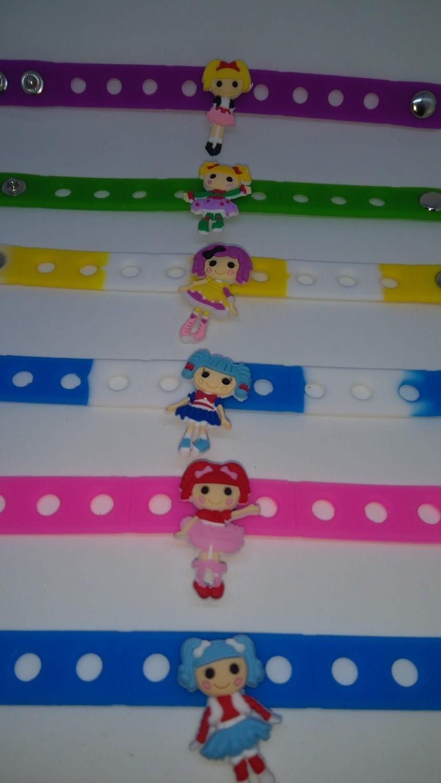 10 Braccialetti personalizzati Lalaloopsy in 3D gomma silicone pvc morbido gadgets fine festa a tema compleanno bambini