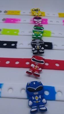 10 Braccialetti personalizzati Power Rangers in 3D gomma silicone pvc morbido gadgets fine festa a tema compleanno bambini