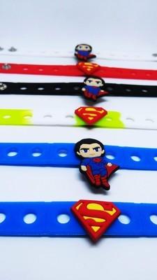 10 Braccialetti personalizzati Superman in 3D gomma silicone pvc morbido gadgets fine festa a tema compleanno bambini
