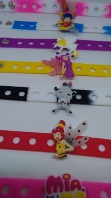 10 Braccialetti personalizzati Mia e Me in 3D gomma silicone pvc morbido gadgets fine festa a tema compleanno bambini