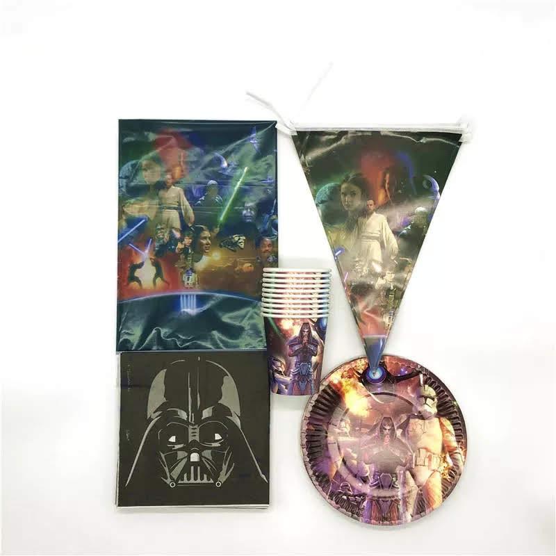 set tavola Star Wars piatti bicchieri tovaglioli Tovaglia Festone bandierine addobbi decorazioni festa compleanno