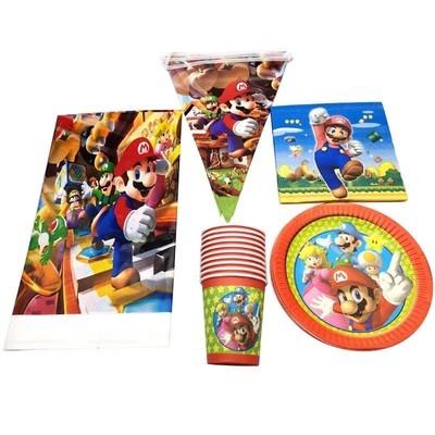 set tavola Super Mario Bros piatti bicchieri tovaglioli Tovaglia Festone bandierine addobbi decorazioni festa compleanno