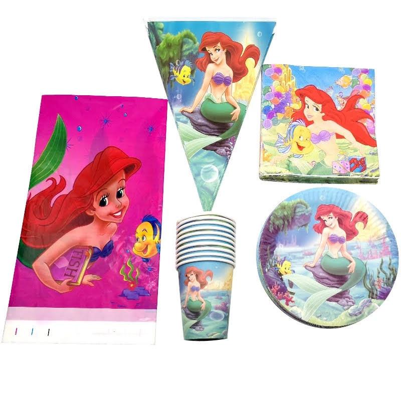 set tavola Ariel la Sirenetta piatti bicchieri tovaglioli Tovaglia Festone bandierine addobbi decorazioni festa compleanno