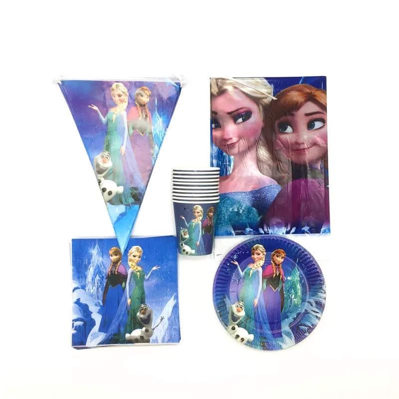 set tavola Frozen piatti bicchieri tovaglioli Tovaglia Festone bandierine addobbi decorazioni festa compleanno