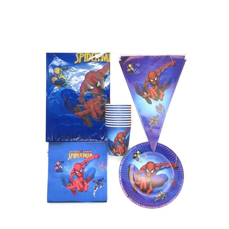 set tavola Spiderman piatti bicchieri tovaglioli Tovaglia Festone bandierine addobbi decorazioni festa compleanno
