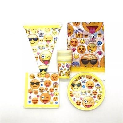 set tavola Emoji piatti bicchieri tovaglioli Tovaglia Festone bandierine addobbi decorazioni festa compleanno