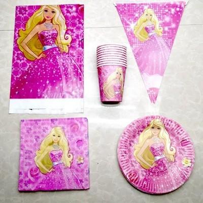 set tavola Principesse Barbie piatti bicchieri tovaglioli Tovaglia Festone bandierine addobbi decorazioni festa compleanno