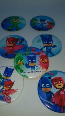 10 GRANDI Spille 4.5cm PJ Masks Zaino Scuola Pins Badge Buttons