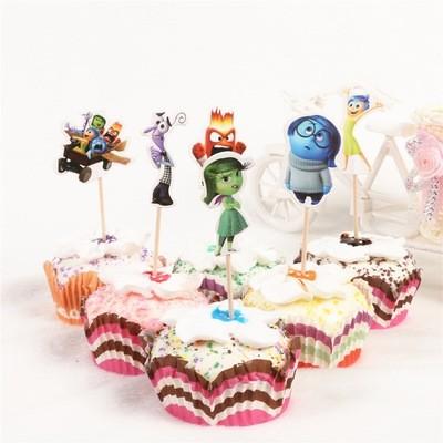 24 bandierine Inside Out decorazioni torte topper Plum cake statuine Tortini