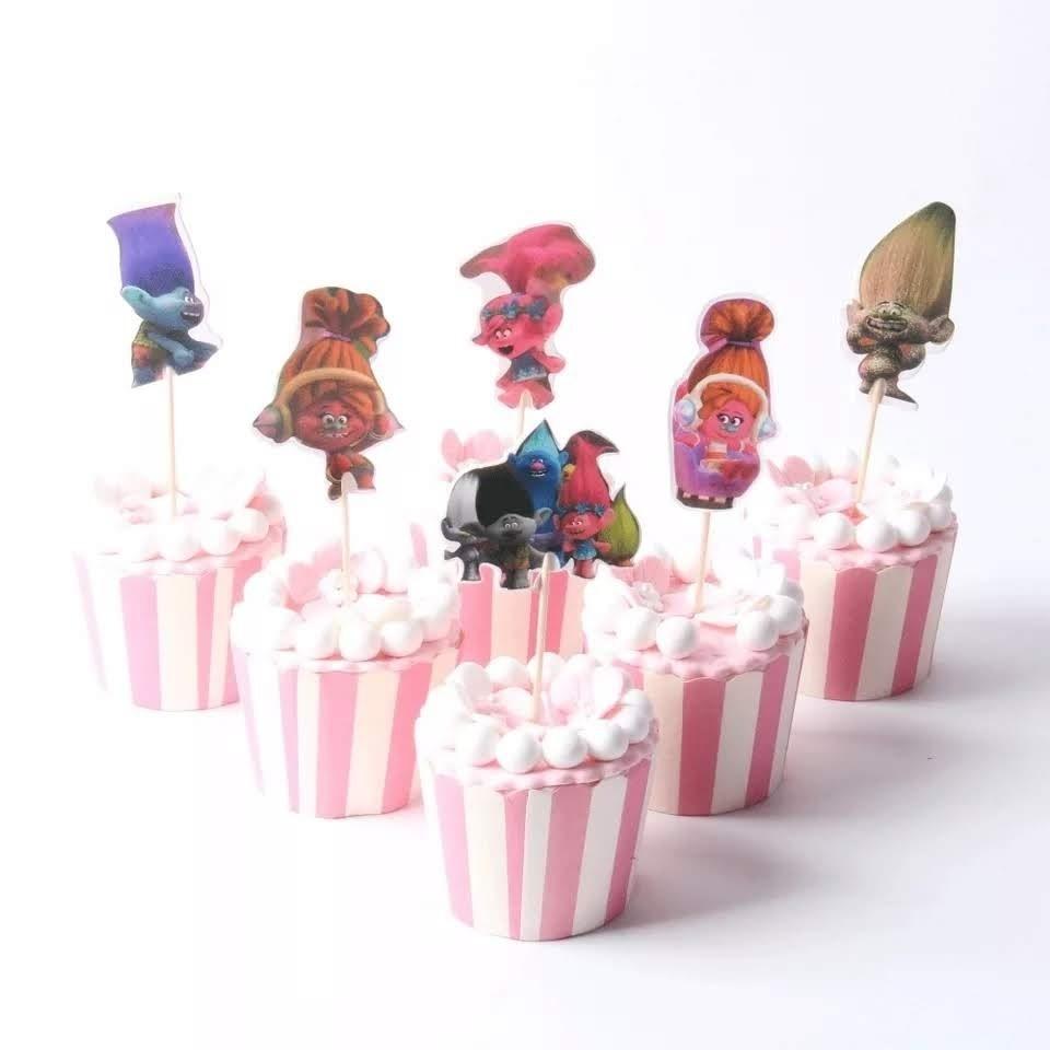 24 bandierine Trolls decorazioni torte topper Plum cake statuine Tortini
