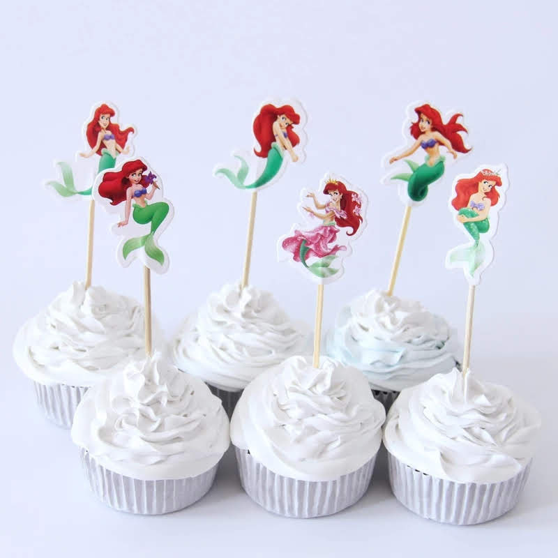 24 bandierine Ariel la Sirenetta decorazioni torte topper Plum cake statuine Tortini