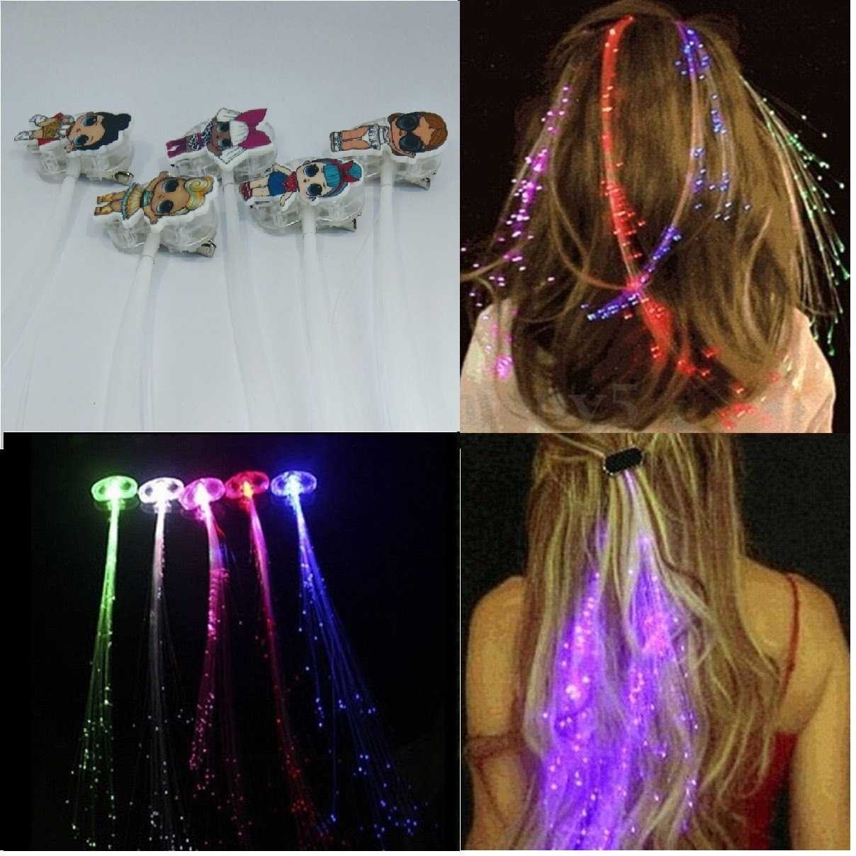 10 clip hair extension LoL Surprise luce a led  gioco luminoso capelli gadgets fine festa compleanno bambine