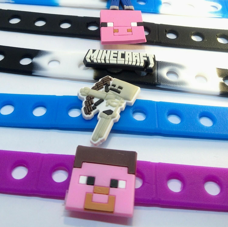 10 Braccialetti personalizzati Minecraft in 3D gomma silicone pvc morbido gadgets fine festa a tema compleanno bambini
