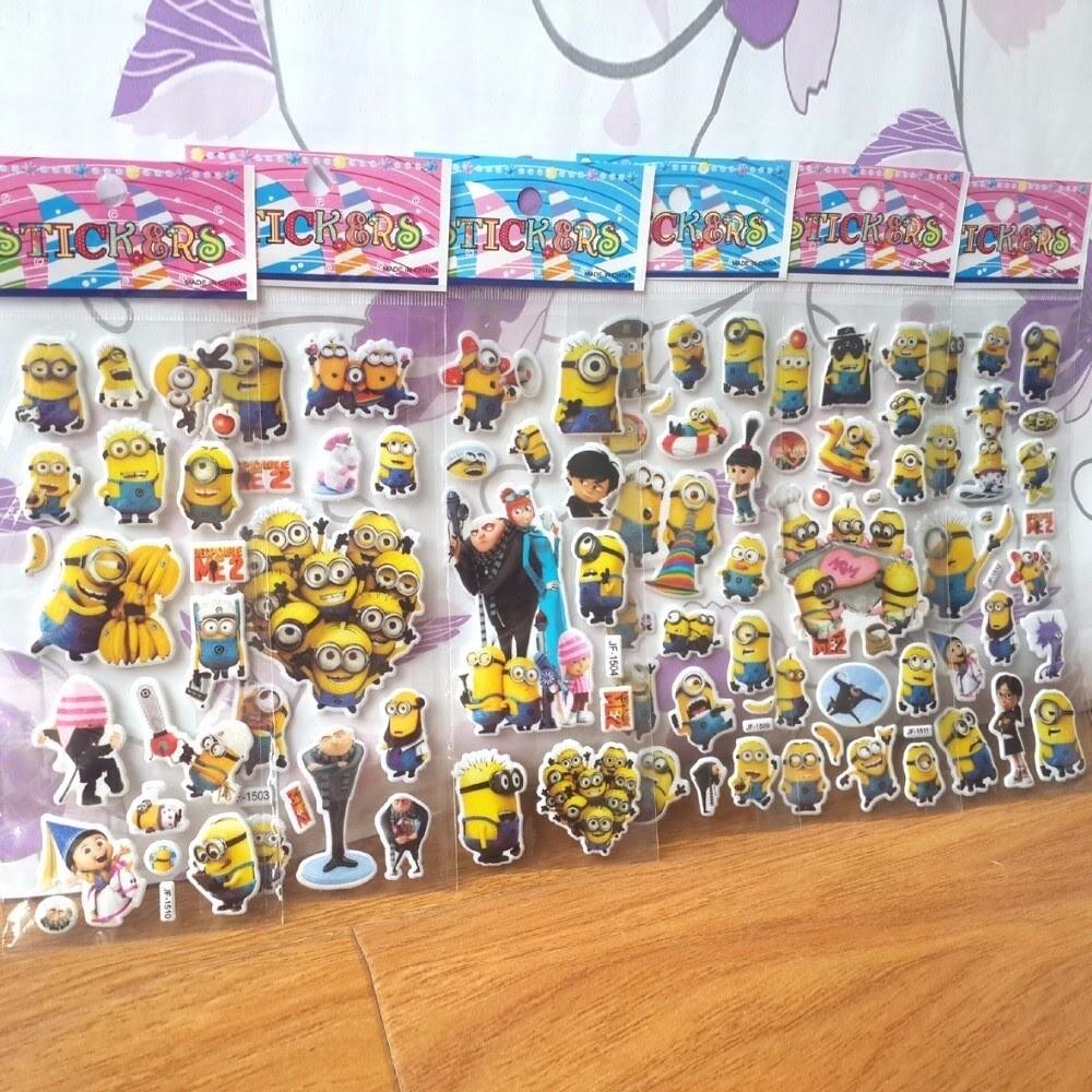 30 fogli stickers Adesivi I Minions Cattivissimo Me