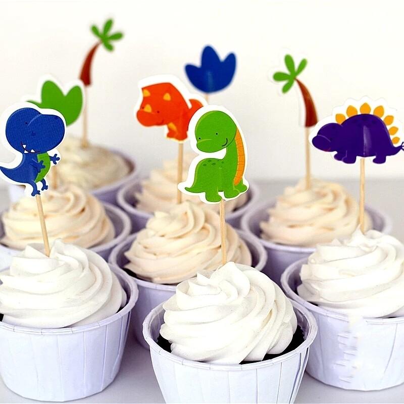 24 bandierine Dinosauri decorazioni torte topper Plum cake statuine Tortini