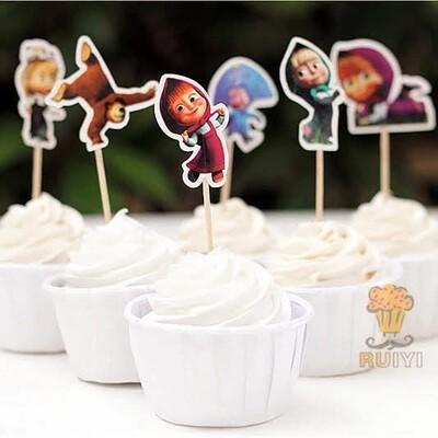 24 bandierine Masha e Orso decorazioni torte topper Plum cake statuine Tortini