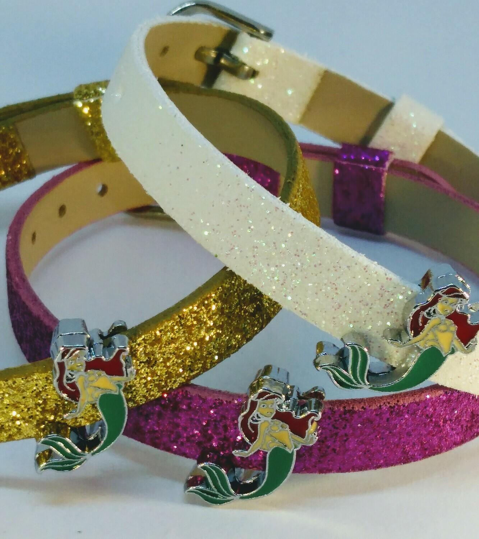 10 Braccialetti Principessa Ariel la Sirenetta slide glitter charms