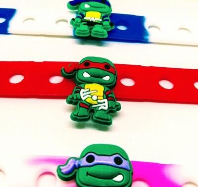 10 Braccialetti personalizzati Tartaruga Ninja Turtle in 3D gomma silicone pvc
