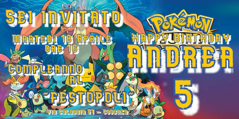 Inviti digitali personalizzati Pokemon per feste di compleanno da mandare via Whatsapp